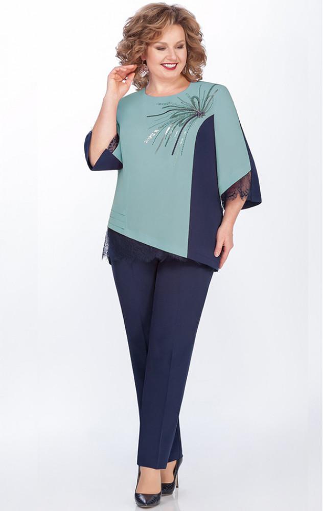 Lakona 1256 - ошатний брючний костюм з шифонової блузою