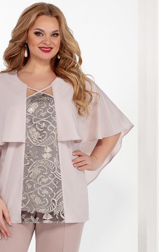 Lakona 1348 - ошатний брючний костюм з шифонової блузою з вишивкою