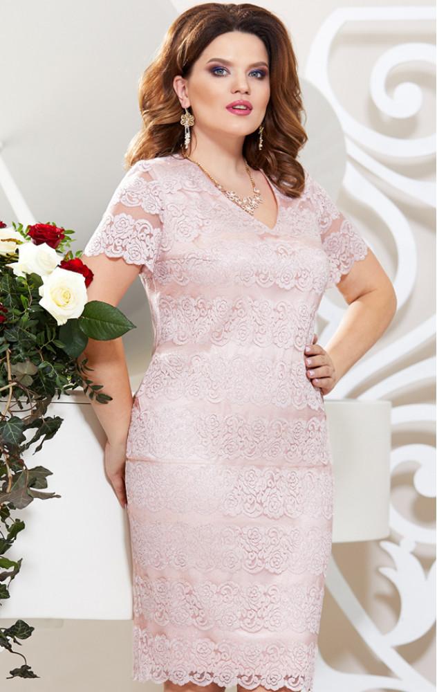 Mira Fashion 4802 - ошатне мереживне плаття в кольорі пудра