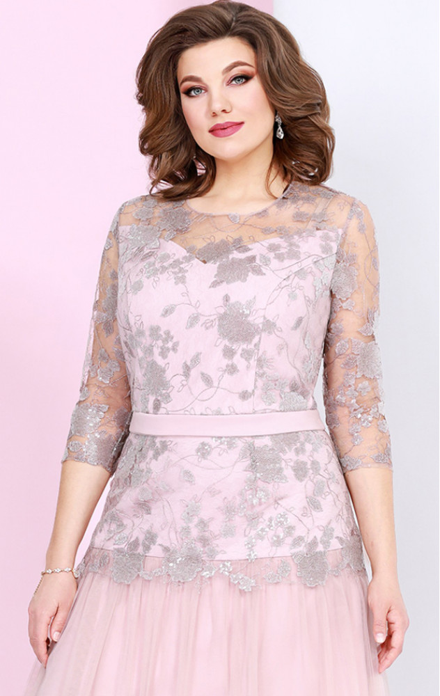 Mira Fashion 4903 - ошатне білоруське плаття в кольорі пудра