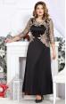 Mira Fashion 4746 - ошатне білоруське чорне плаття із золотою вишивкою