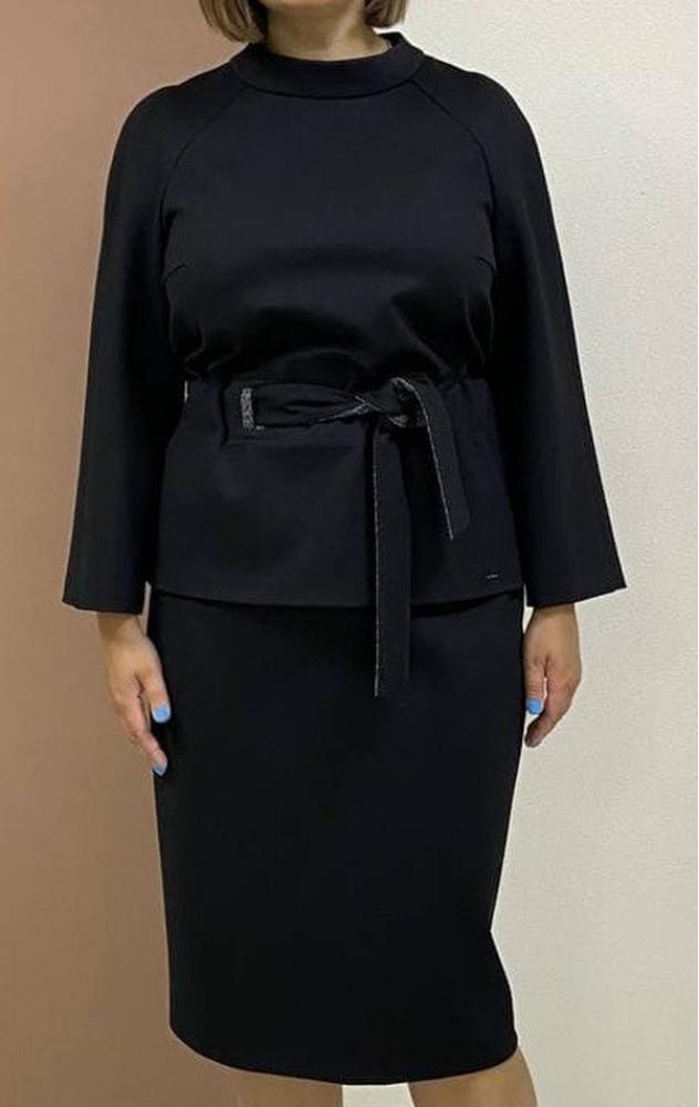 Petro Soroka 3702 - чорний трикотажний костюм зі спідницею